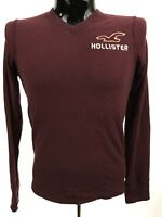HOLLISTER Mens Long Sleeve Shirt Size S Maroon V-Neck Cotton L/S Casual
