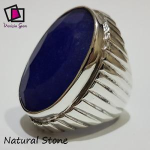 BIG Sapphire Ring 925 Sterling Silver Men Agate Stone Natural Yemen Handmadeزفير