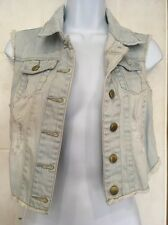 Lovely Ladies Denim Waist Coat Jacket Size 8