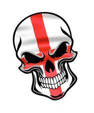 30 cm Ciclista Cráneo Gótico y St Georges Cruzado Inglaterra Bandera Auto Moto Pegatina Calcomanía