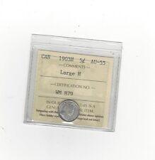 **1903H, Large H**, ICCS Graded Canadian,  5 Cent, **AU-55**