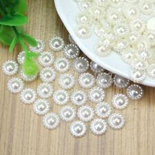 100 Pcs Stunning Ivory Plastic Pearl Flower Beads Wedding Cards Embellishments