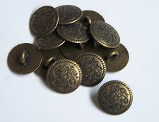 Pack of 10 Antique Bronze Engraved Rope 15mm Loop/Shank Buttons    0045