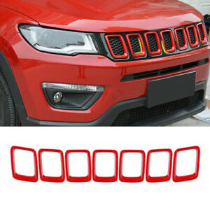 Red ABS Front Grille Grill Insert Trim Frame fit for 2017-2021 New Jeep Compass