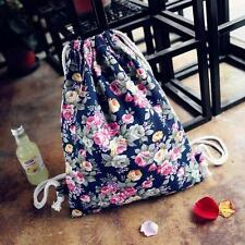 Womens Drawstring Floral Bookbag Canvas Travel Backpack Fashion Backpack Bags Y1