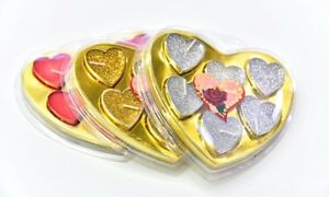 6 pcs Luxury Heart Tea Lights, Silver, Gold, Red, for all Special Occasions C07