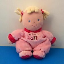 """Carter's Just One Year My First Doll Blonde Pigtails Pink Baby 9"""" Plush Lovey"""