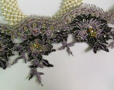 "4.5"" Metallic Silver / Purple Sequins Beads Embro Flowers Fringe Lace Trim T1104"