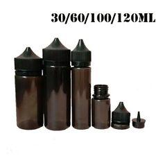 30-120ML PET Dropper Bottles Liquid Plastic Black Container Tips Caps 5-100pcs