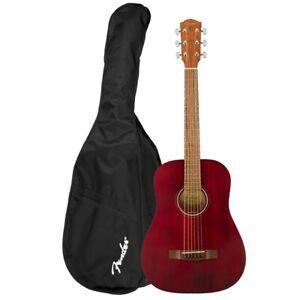 Fender FA-15 3/4 Steel Red Chitarra Acustica Corde in Acciaio con Borsa