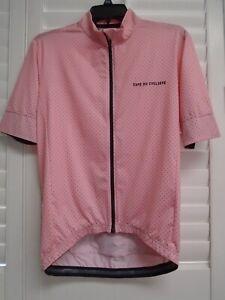 CAFE DU CYCLISTE Pink Black Polka Dot Fleurette Mesh Cycling Jersey Shirt Size L