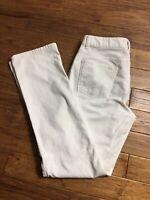 TALBOTS Heritage Women's Straight Leg WHITE CORDUROY STRETCH Pants Size 8