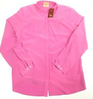 RM WILLIAMS Women's 100% Silk Pink 'Annes' Shirt Semi Fitted Size 12 NWT