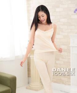 DANEE 100% Pure Natural Silk Lace V-Neck Women's Camisole | Knit Silk Stretch