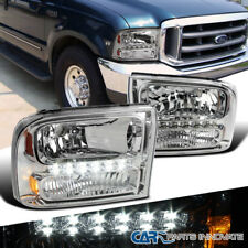 Ford 99-04 F250/F350 Superduty 00-04 Excursion Clear 1PC Headlights+SMD LED DRL