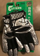 Cutters Rev 2.0 Football Gloves   Adult Medium   Black/Silver Free SH