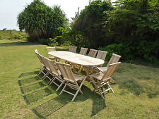 Salon de jardin en teck ensemble table HENUA + 12 chaises pliantes JALANG