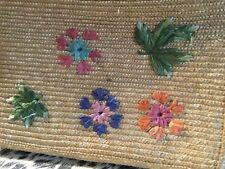 """Original vintage 1950/60 basket box bag 13"""" x9"""" flower design ( front)"""