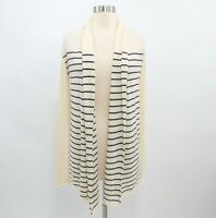 Club Monaco Cashmere Cardigan Sweater Womens XS Striped Ivory Blue Open Front