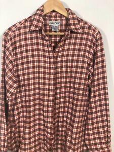 Cabin Creek XL Plaid Flannel Shirt Pocket Long Sleeve Button Womens Sparkle