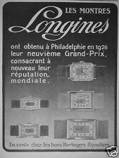 PUBLICITÉ 1927 LONGINES LES MONTRES 9ème GRAND PRIX A PHILADELPHIE - ADVERTISING