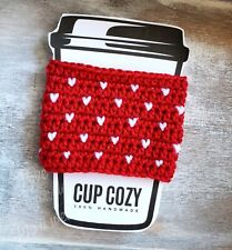 Tiny Hearts Coffee Cup Cozy Crochet Iced Drink Sleeve Travel Mug Red White