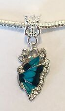 Blue And Cz Crystal Butterfly Dangling Pendant Charm For Bracelets Silver Plated