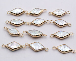 10pcs Plated diamond Shape Natural Pearl Freshwater Links Connector Charms