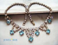 EARLY  VINTAGE BLUE AQUAMARINE CRYSTAL DIAMOND RHINESTONE ART DECO NECKLACE GIFT
