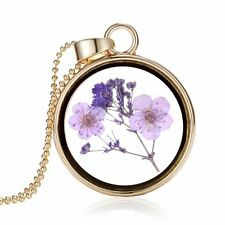 Natural Real Dried Purple Flower Round Glass Floating Locket Pendant Necklace