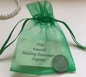 1966 Sixpence in Organza Bag - Emerald (55th) Wedding Anniversary Year Gift/Card