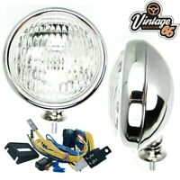 Classic Car 12V Polished Stainless Steel Chrome Front Clear Fog lights & Wiring