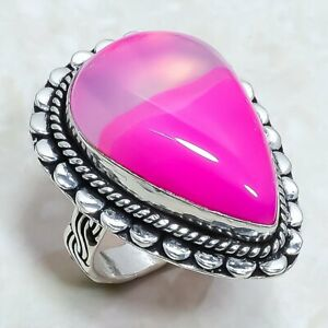 Pink Lace Agate Gemstone Handmade Ethnic Silver Jewelry Ring Size 8.5 RLG6607