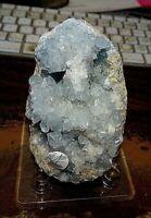 LARGE Natural Celestite Geode Cluster Quartz Crystal Healing MADAGASCAR STAND