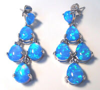 GORGEOUS BLUE  FIRE OPAL.  STUD EARRINGS