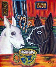 Bull Terrier Drinking Coffee Dog Pop Folk Vintage Art 8 x 10 Signed Print