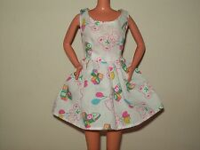 Barbie Doll Clothes Dress White Teddy Bear Balloons Blocks Alphabet D86