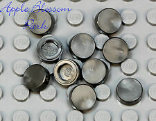 NEW Lego Lot/10 1x1 Silver Gray FLAT TILE - Round Part Piece - Jar Cover Lid Set
