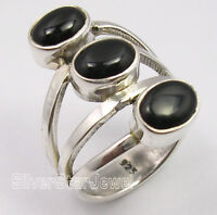 925 Pure Silver Amazing BLACK ONYX 3 Cabochon Gemstone BIG FACE Ring Any Size