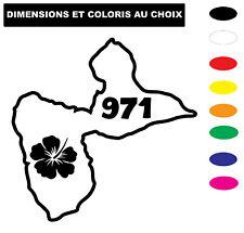 Sticker GUADELOUPE Autocollant  971 Coloris au choix