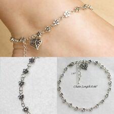 Charm Tibetan Silver Plated Daisy Flower Chain Heart Anklet/Ankle Bracelet Gift