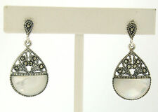 Marcasite .925 Sterling Silver Open Mother of Pearl Half Circle Dangle Earrings