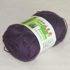50g 1Ball Super Soft Worsted Natural Bamboo Cotton Knitting Yarn 908 Purple