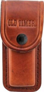 """Schrade LS2 Brown Leather Belt Pouch Sheath For Folding Knife Up To 5"""""""