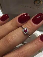 CLEARANCE 18CT WHITE GOLD SQUARE HALO 0.10CT DIAMOND AND RUBY HALO RING LCL033