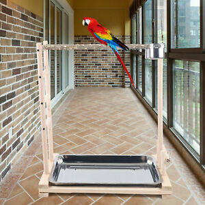 Pet Bird Parrot Wood Stand Stick Frame Game Playing Cage Perch+Metal Food Cups