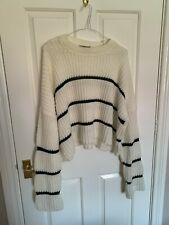 ASOS White & Black Striped Cropped Knitted Jumper - Size 10
