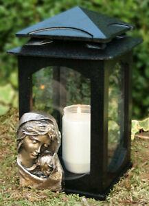 Grablaterne Grablampe Grableuchte Grabschmuck Bronze Maria inkl. Grablicht Kerze