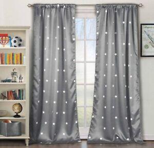 Lala + Bash Gruden Metallic Star Print Living Room Set of 2 Panels,38 X 84, Grey
