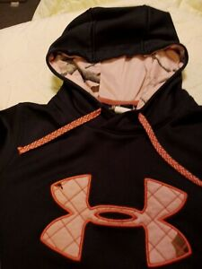 Under Armour Hooded Sweatshirt Small Hoodie Pullover Black / Pink Camo Storm